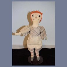 Vintage Raggedy Andy Cloth Doll Rag Doll Button Eyes Drawn on Features