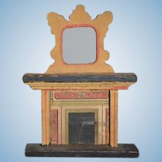 Antique Doll Wood Bliss Fireplace Fire Place Miniature Dollhouse Wood Litho