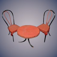 Old Doll Miniature Bentwood Parlor Set W. Fringe Upholstered Dollhouse Table and Chairs