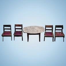 Antique Doll Miniature Marble Top Table and Four Chairs Dollhouse