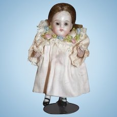 Antique Doll Miniature All Bisque Jointed Glass Eyes