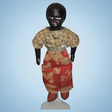 Old Black Doll Papier Mache Wonderful Unusual