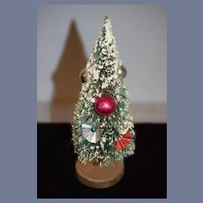 Old Doll Miniature Dollhouse Christmas Tree W/ Old Ornaments
