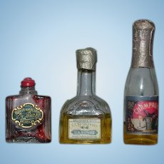 Old Doll Miniature Glass Bottles For Dollhouse Store Vanity