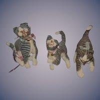 Vintage Artist Cat Dolls Stuffed THREE CATS Kitten Folk Art Vergie Lightfoot