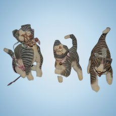 Vintage Artist Cat Dolls Stuffed THREE CATS Kitten Folk Art Vergie Lightfoot