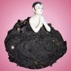 Old Doll China Head Half Doll Pierrot Pincushion ornate