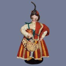 Old Unusual Cloth Doll Felt Doll Original Costume Miniature