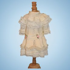 Vintage Doll Dress Drop Waist Lace Flowers