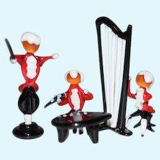 Vintage Doll Miniature Orchestra Dollhouse Glass Figurines Scene Set