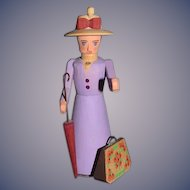 Vintage Doll Wood Carved German Democratic Republic Miniature Lady W/ Parasol and Purse Mary Poppins