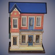 Antique Doll Dollhouse Miniature Gottschalk Blue Roof