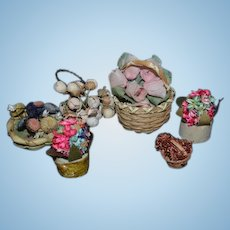 Vintage Doll Miniature Flowers in Baskets Containers Dollhouse