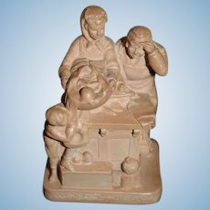 "Wonderful Sculpture ""Weighing the Baby"" Miniature Figurine Doll"