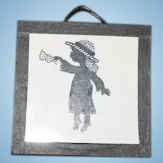 Vintage Doll Miniature Picture Silhouette Of Little Girl Sweet Dollhouse Glass Frame
