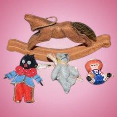 Vintage  Doll Artist Miniature Lot Raggedy Andy Golliwog Teddy Bear Wood Rocking Horse Dollhouse