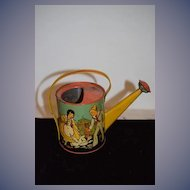 Old Tin Litho Watering Can Water Can Childhood Scene Litho