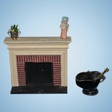 Vintage Doll Miniature Fireplace W/ Accessories Dollhouse