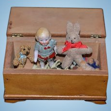 Old All Bisque Doll Miniature Dollhouse W/ Hinged Trunk and Toys Teddy Bear Bunny Rabbit & Animals