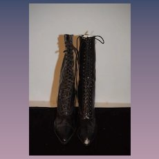 Antique Doll Lace Up Boots Pointed W/ Heel