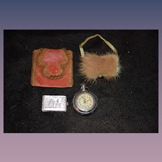 Old Sweet Doll Miniatures For Fashion Doll Muff Watch Book Purse