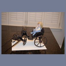 Wonderful Doll Old Coach Carriage Buggy For Dolls Wood Fancy W/ Old Paint Bamboo Wheels Great For Poupee