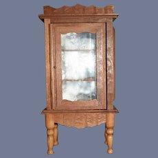 Vintage Miniature Doll Wood Glass Mirror Back Cabinet Dollhouse