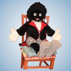 "Huge Doll Big Cloth Black Doll Golliwog Giant No. 17 ONLY 100 Made Hermann German Sweet 41"" Tall"