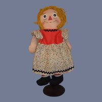 Old Unusual Raggedy Ann Doll Cloth Doll