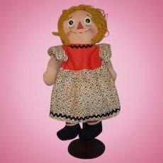 Old Unusual Raggedy Ann Doll Cloth Doll