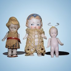 Antique Doll LOT All Bisque Miniature Dollhouse Character Dolls