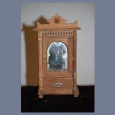 Vintage Ornate Miniature Wood Mirror Door Wardrobe Dollhouse