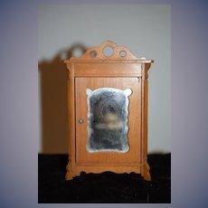 Old Wood Doll Miniature Wardrobe Dollhouse Mirror Front