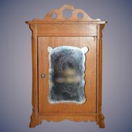 Old Wood Doll Miniature Wardrobe Dollhouse Mirror Front