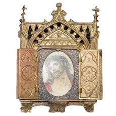 Old Ornate Metal Religious Icon Jesus Picture in Frame w/ Doors Miniature Dollhouse