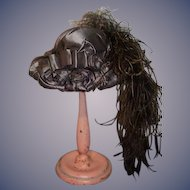 Artist Made Doll Hat W/ Feathers Bow Fancy Bonnet