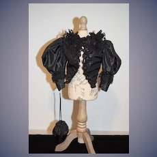 Wonderful Doll Artist Made Victorian Style Jacket W/ Sequins and Lace & Matching Doll Purse