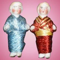 Antique Doll All Bisque Miniature Dolls Dollhouse Set Pair