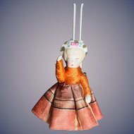 Antique Doll All Bisque Miniature Bonnet Head Dollhouse Jointed Dressed