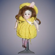 Antique Doll All Bisque Jointed Pink Stockings and Double Strap Heels Miniature Dollhouse
