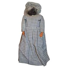 Old Black Doll Apple Head W/ Wood Hands Folk Art