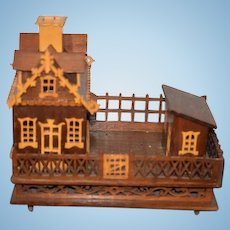 Wonderful Doll Miniature Wood Ornate Dollhouse Cottage For Display