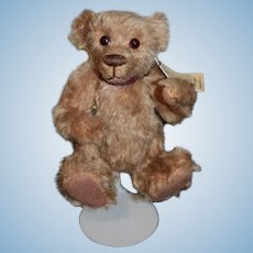 Artist Teddy Bear Baby Wally Original By The Bear Lady Jointed Glass eyes String Tag Leather Tag