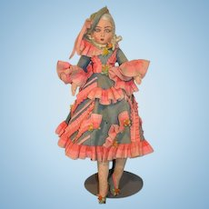 Antique Doll Studio Felt Doll Wonderful Fancy High Heels Shoes Painted Features Cloth Doll