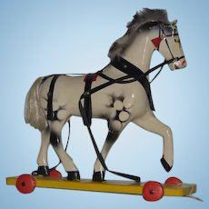 Old Wood Doll Pull Toy Horse on Wheels Carved Wood