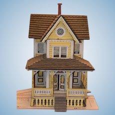 Antique Doll Miniature Dollhouse Queen Ann Wonderful Porch Two Story