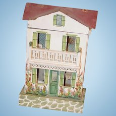 Antique Doll Dollhouse Miniature Cottage W/ Old Garden Flowers Decorating the House