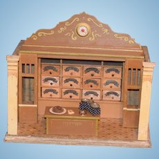 Old Doll Wood Miniature Diorama Dollhouse Grocery Store