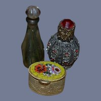 Old Doll Miniature Perfume Bottle Bottles and Mosaic Hinged Box Unusual Miniature Green Glass Perfume
