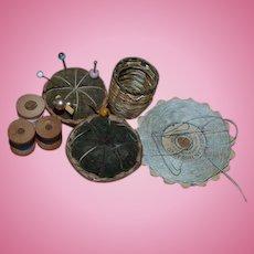 Old Doll Miniature Sewing Kit Items Basket Pincushion Thread Basket